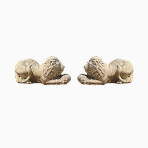 English Stone Lions, Set of 2