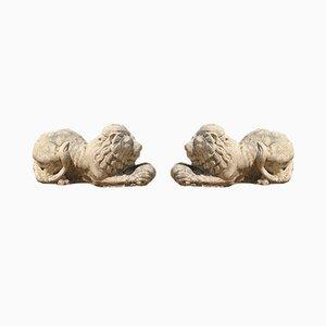 English Stone Lions, Set of 2