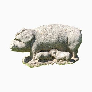 Decorative Stone Pig with Sucklings