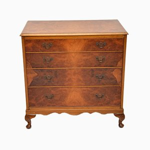 Antique Burl Walnut Chest of Drawers, 1930s