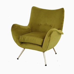 Vintage Italian Velvet Armchair, 1950s
