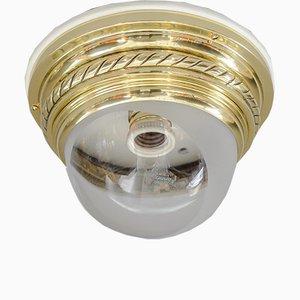 Österreichische Art Deco Deckenlampe mit Glasschirm, 1920er