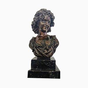Art Nouveau Bronze Spring Bust by H. Moreau