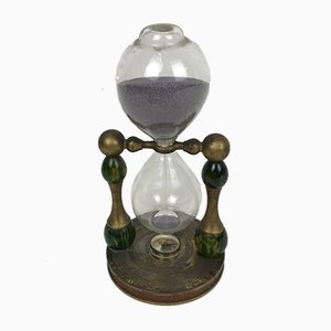 Italian Metal 30 Minutes Hourglass with Small Compass, 1970s