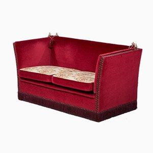 Vintage Danish Red Velour Knole Sofa