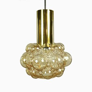 Amber Bubble Glass Pendant Lamps by Helena Tynell for Limburg, 1960s, Set of 2