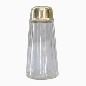 Art Deco Cut Glass and Brass Salt Shaker, 1920s