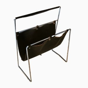 French Black Leather and Chrome Steel Magazine Rack Attributed to Jacques Adnet, 1970s