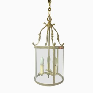 Silvered Bronze Hall Lantern Ceiling Lamp, 1920s