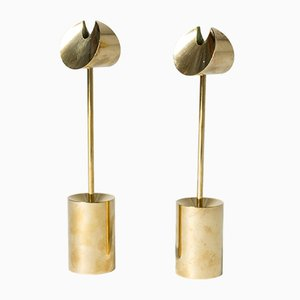 Mid-Century Brass Candleholders by Pierre Forssell for Skultuna, Set of 2