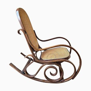 Vintage Wood and Vienna Straw Rocking Chair in the Style of Thonet, 1940s
