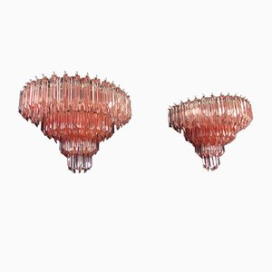Vintage Murano Glass Sconces with 63 Pink Quadriedri, 1978, Set of 2
