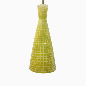 Mid-Century Diabolo Deckenlampe aus gelbem Glas von Aloys Gangkofner für Peill & Putzler, 1950er