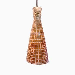 Rote Mid-Century Diabolo Deckenlampe von Aloys Gangkofner für Peill & Putzler, 1950er