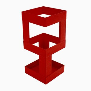 Austrian Red Metal Umbrella Stand, 1970s