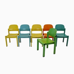 Pop Art Multicolored Dining Chairs, 1980s, Set of 6