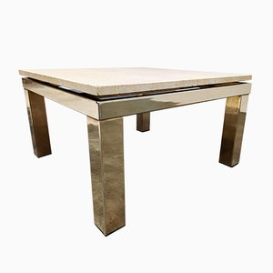 Vintage Travertine Coffee Table from Belgo Chrom / Dewulf Selection, 1970s