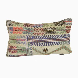White Embroidery Kilim Lumbar Cushion Cover