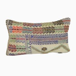 White Embroidery Kilim Lumbar Cushion Cover