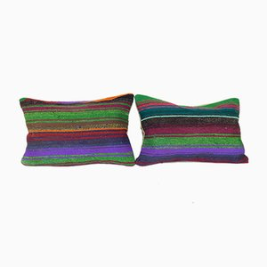Turkish Kilim Lumbar Cushion Covers, Set of 2