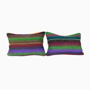 Turkish Kilim Lumbar Cushion Covers, Set of 2