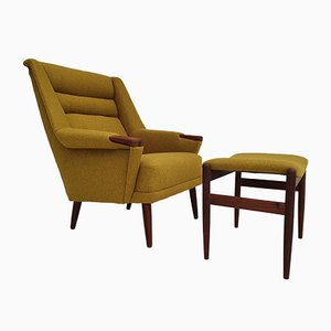 Danish Armchair and Footstool Set, 1970s