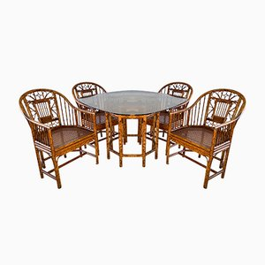 Mid-Century Rattan Pavilion Dining Table & Chairs Set from Brighton, Set of 5