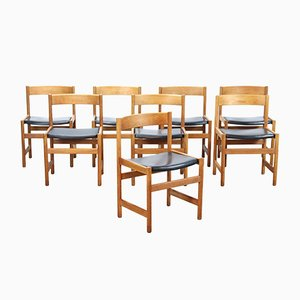 Oak Trivia Shaker Chairs by Yngvar Sandström for Nordiska Kompaniet, 1960s, Set of 8