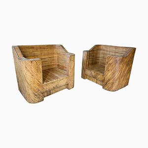Vintage Reed Bamboo Club Chairs in the Style of Gabriella Crespi, Set of 2