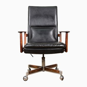 Large Rosewood and Leather Model 419 Desk Chair by Arne Vodder for Sibast, 1960s