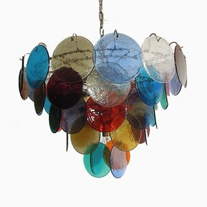 Space Age Multicolored Murano Glass Ceiling Lamp, 1980s