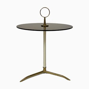 Mid-Century Italian Brass and Smoked Glass Side Table by Cesare Lacca, 1950s