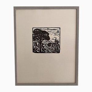 Mid-Century Framed Linoleum Print, 1970s