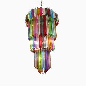 Murano Glass Ceiling Lamp with 111 Multicolor Quadriedri, 1980s