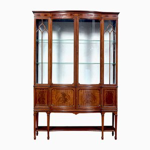 Antique Edwardian Mahogany Bow Front Display Cabinet