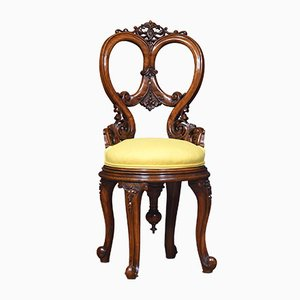 19th Century Walnut Swivel Dressing Chair