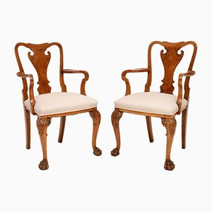 Queen Anne Style Carved Walnut Armchairs, 1920s, Set of 2