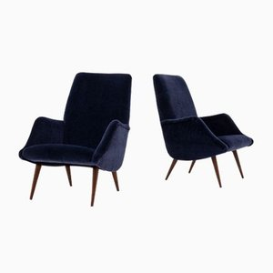 Mid-Century Mohair Velvet Lounge Chairs by Carlo de Carli for Cassina, 1950s, Set of 2