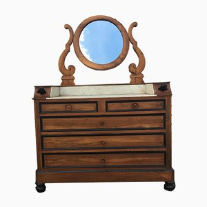 19th Century Walnut and Marble Dressing Table