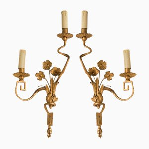 Large Vintage French Golden Sconces, Set of 2
