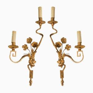 Large Vintage French Golden Sconces, Set of 2