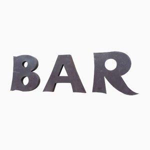 Metall Barschild mit Buchstaben, 1950er