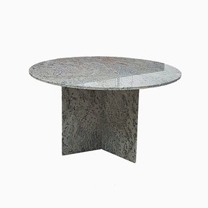 Large Mid-Century Round Granite Dining Table, 1980s