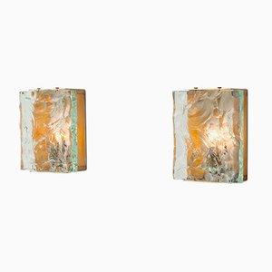 Messing und Kristallglas Wandlampen von Max Ingrand für Fontana Arte, 1964, 2er Set