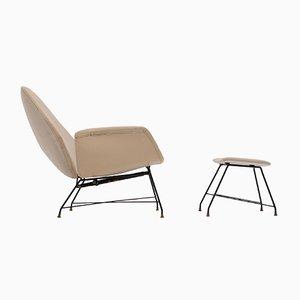 Reclining Model Lotus Lounge Chair & Ottoman by Augusto Bozzi for Saporiti Italia, 1960s, Set of 2