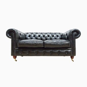 Vintage Black Leather Chesterfield Club 2-Seat Sofa