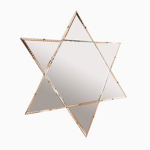 Art Deco Star Beveled Mantle Colored Wall Mirror, 1940s