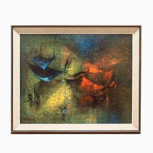 Vintage Abstract Framed Art Fishing Nets by Le Ba Dang
