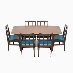 Mid-Century Teak Dining Table & Chairs Set by Younger, 1960s, Set of 6