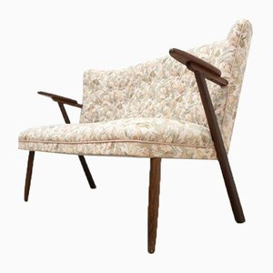 Dänisches Vintage Loveseat Sofa aus Teakholz